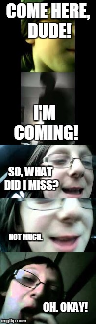 'Me' Chat | COME HERE, DUDE! I'M COMING! SO, WHAT DID I MISS? NOT MUCH. OH. OKAY! | image tagged in me,chat,me chat,collin kunsman,minestar35,youtube | made w/ Imgflip meme maker