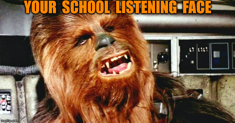 YOUR  SCHOOL  LISTENING  FACE | image tagged in chewbacca face | made w/ Imgflip meme maker