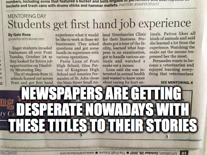 Im assuming the writer JUST passed English class | NEWSPAPERS ARE GETTING DESPERATE NOWADAYS WITH THESE TITLES TO THEIR STORIES | image tagged in hand job,one does not simply,first world problems,leonardo dicaprio cheers | made w/ Imgflip meme maker