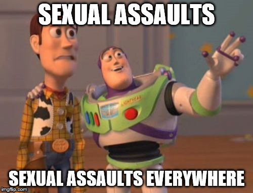 It might be easier to ask who hasn't been sexually assaulted in Hollywood. | SEXUAL ASSAULTS SEXUAL ASSAULTS EVERYWHERE | image tagged in memes,x,x everywhere,x x everywhere | made w/ Imgflip meme maker
