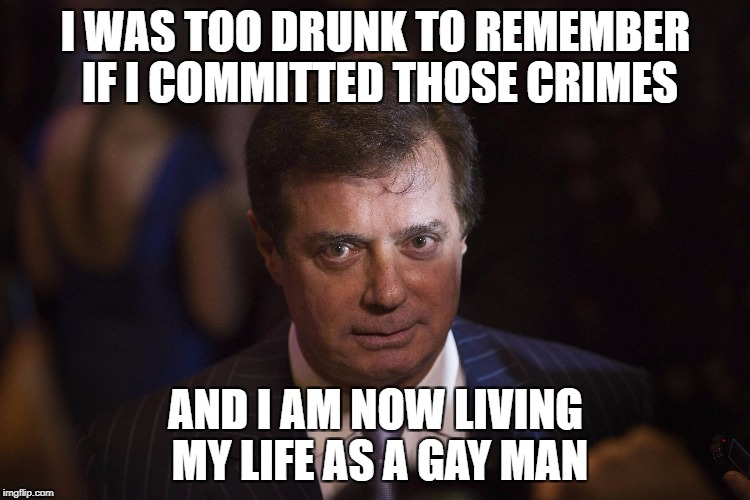 I WAS TOO DRUNK TO REMEMBER IF I COMMITTED THOSE CRIMES AND I AM NOW LIVING MY LIFE AS A GAY MAN | image tagged in manafort | made w/ Imgflip meme maker