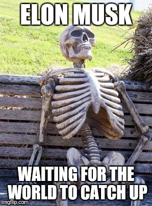 Waiting Skeleton Meme | ELON MUSK WAITING FOR THE WORLD TO CATCH UP | image tagged in memes,waiting skeleton | made w/ Imgflip meme maker