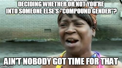 "Aint Nobody Got Time For That Meme | DECIDING WHETHER OR NOT YOU'RE INTO SOMEONE ELSE'S ""COMPOUND GENDER""? AIN'T NOBODY GOT TIME FOR THAT 
