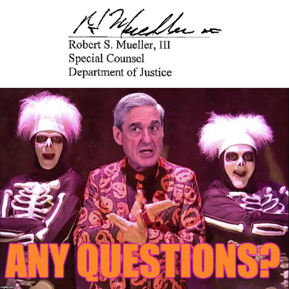 I'm Robert S. Mueller. ANY QUESTIONS? | image tagged in robert s mueller,david s pumpkins,russiagate,scary,halloween,impeach trump | made w/ Imgflip meme maker