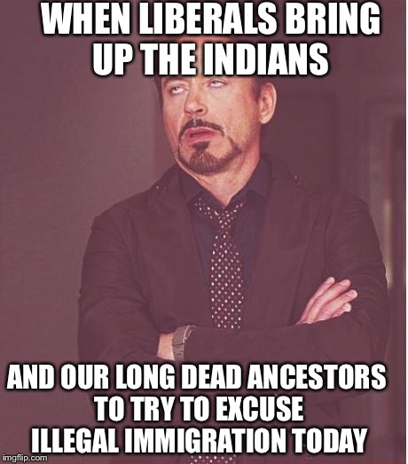 Face You Make Robert Downey Jr Meme | WHEN LIBERALS BRING UP THE INDIANS AND OUR LONG DEAD ANCESTORS TO TRY TO EXCUSE ILLEGAL IMMIGRATION TODAY | image tagged in memes,face you make robert downey jr | made w/ Imgflip meme maker