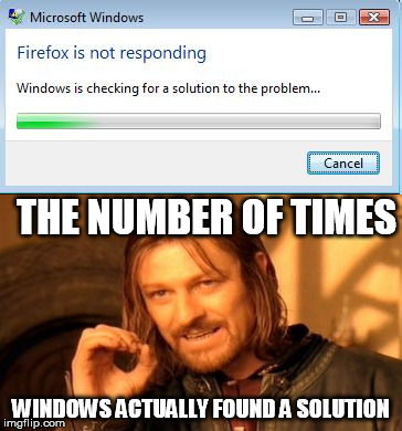 Seriously Windows why do you even bother? | THE NUMBER OF TIMES WINDOWS ACTUALLY FOUND A SOLUTION | image tagged in memes,one does not simply,windows,not responding | made w/ Imgflip meme maker