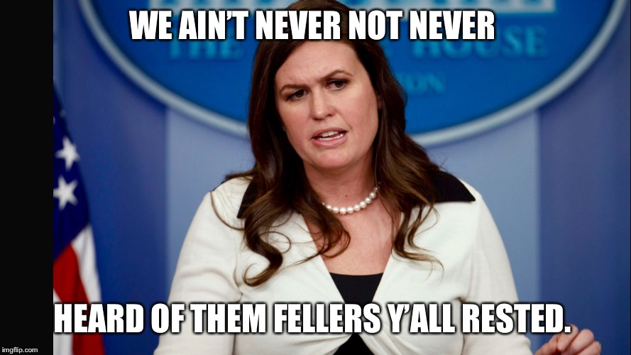 Sarah Sanders  | WE AIN'T NEVER NOT NEVER HEARD OF THEM FELLERS Y'ALL RESTED. | image tagged in sarah sanders | made w/ Imgflip meme maker