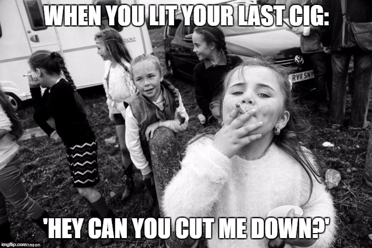 WHEN YOU LIT YOUR LAST CIG: 'HEY CAN YOU CUT ME DOWN?' | image tagged in smoking | made w/ Imgflip meme maker