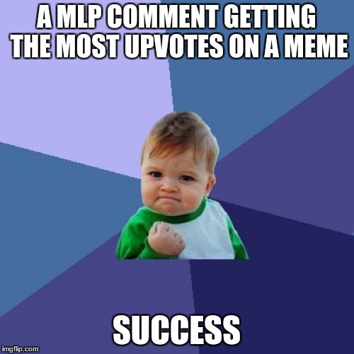 Success Kid Meme | A MLP COMMENT GETTING THE MOST UPVOTES ON A MEME SUCCESS | image tagged in memes,success kid | made w/ Imgflip meme maker