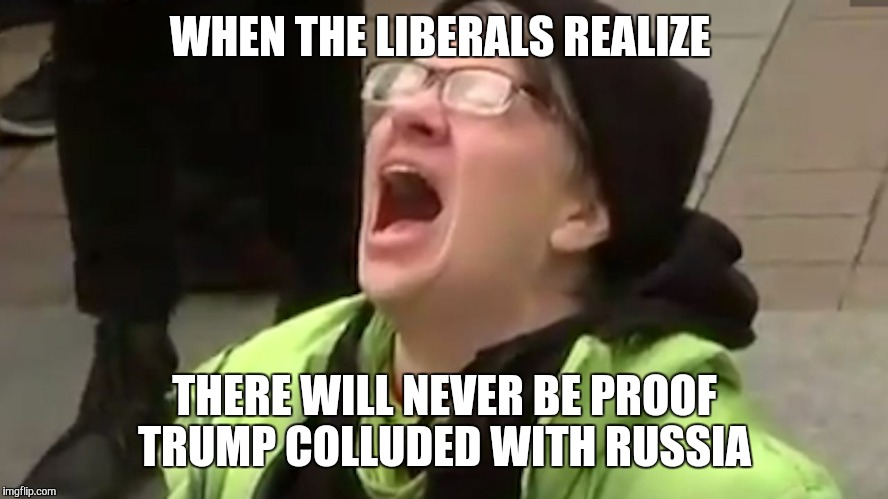 Screaming Liberal  | WHEN THE LIBERALS REALIZE THERE WILL NEVER BE PROOF TRUMP COLLUDED WITH RUSSIA | image tagged in screaming liberal | made w/ Imgflip meme maker