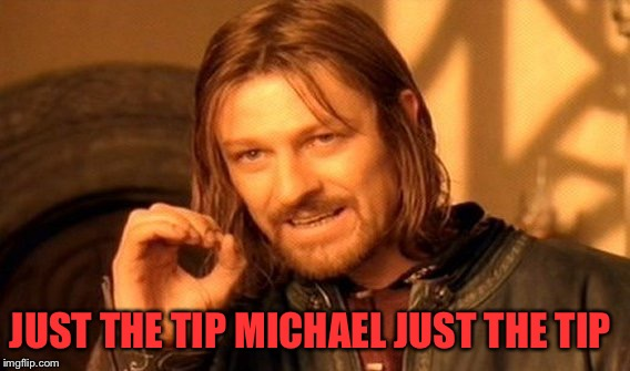One Does Not Simply Meme | JUST THE TIP MICHAEL JUST THE TIP | image tagged in memes,one does not simply | made w/ Imgflip meme maker