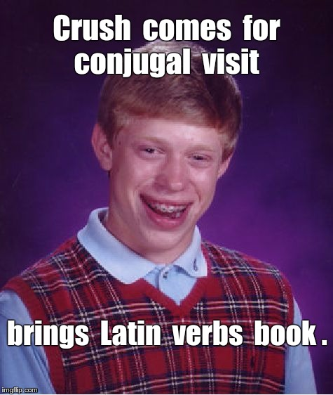 Bad Luck Brian Conjugal Visit | Crush  comes  for  conjugal  visit brings  Latin  verbs  book . | image tagged in memes,bad luck brian | made w/ Imgflip meme maker