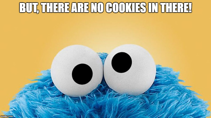 Cookie Monster | BUT, THERE ARE NO COOKIES IN THERE! | image tagged in cookie monster | made w/ Imgflip meme maker