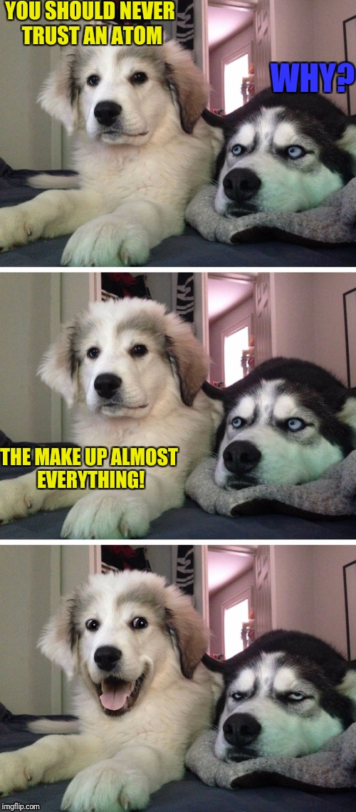 Awful Science Pun | YOU SHOULD NEVER TRUST AN ATOM WHY? THE MAKE UP ALMOST EVERYTHING! | image tagged in bad pun dogs | made w/ Imgflip meme maker