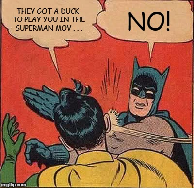 Batman Slapping Robin Meme | THEY GOT A DUCK TO PLAY YOU IN THE SUPERMAN MOV . . . NO! | image tagged in memes,batman slapping robin | made w/ Imgflip meme maker