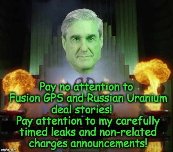 Pay no attention to Fusion GPS and Russian Uranium deal stories!     Pay attention to my carefully timed leaks and non-related charges annou | image tagged in wizard of oz,robert mueller | made w/ Imgflip meme maker