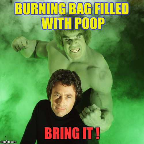 When Old Folks Know Too Much... | BURNING BAG FILLED WITH POOP BRING IT ! | image tagged in memes,halloween,incredible hulk | made w/ Imgflip meme maker