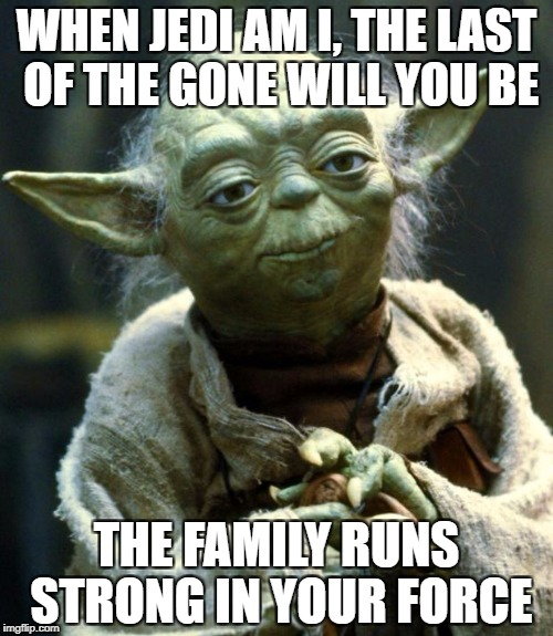 Learn what you have passed on | WHEN JEDI AM I, THE LAST OF THE GONE WILL YOU BE THE FAMILY RUNS STRONG IN YOUR FORCE | image tagged in memes,star wars yoda,dank memes,funny,bad puns,wordplay | made w/ Imgflip meme maker