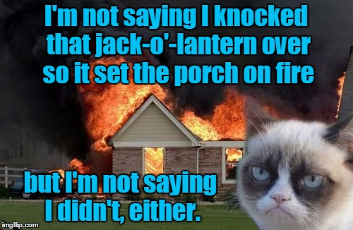 I'm not saying I knocked that jack-o'-lantern over so it set the porch on fire but I'm not saying I didn't, either. | made w/ Imgflip meme maker