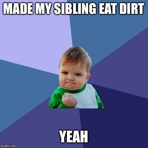 Success Kid Meme | MADE MY SIBLING EAT DIRT YEAH | image tagged in memes,success kid | made w/ Imgflip meme maker