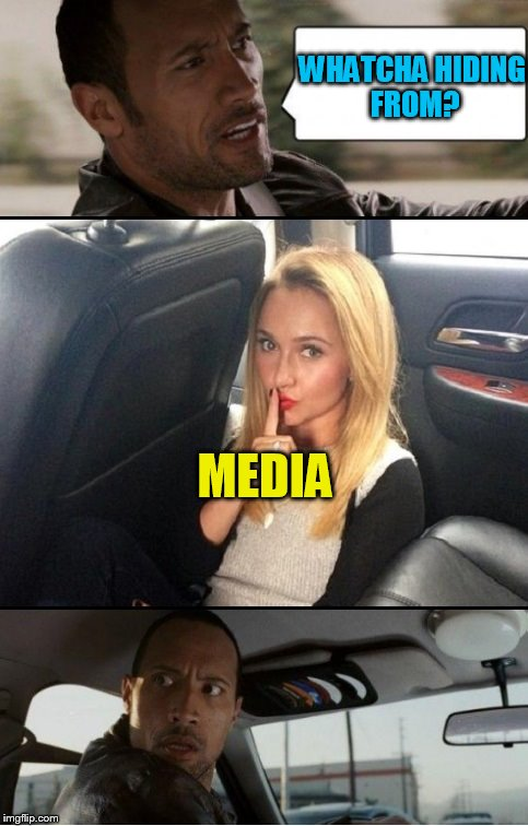 Rock driving TammyFaye | WHATCHA HIDING FROM? MEDIA | image tagged in rock driving tammyfaye | made w/ Imgflip meme maker