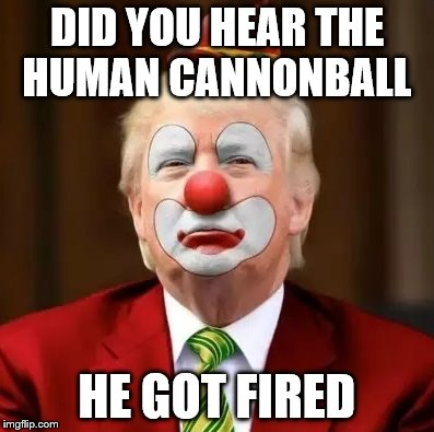 Donald Trump Clown | DID YOU HEAR THE HUMAN CANNONBALL HE GOT FIRED | image tagged in donald trump clown | made w/ Imgflip meme maker