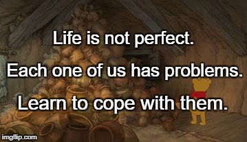 Life is not perfect. Learn to cope with them. Each one of us has problems. | image tagged in problem pooh | made w/ Imgflip meme maker