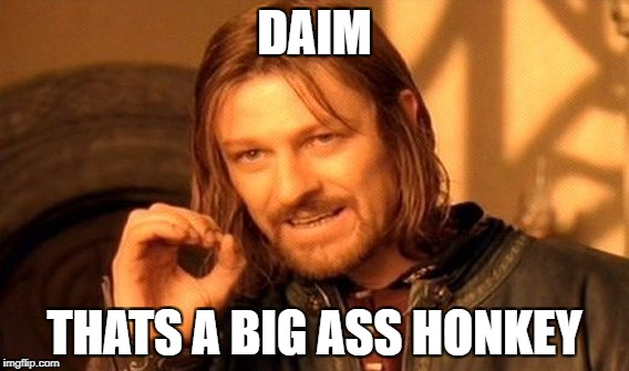One Does Not Simply Meme | DAIM THATS A BIG ASS HONKEY | image tagged in memes,one does not simply | made w/ Imgflip meme maker