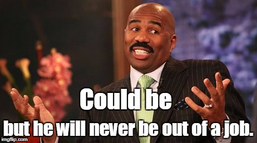 Steve Harvey Meme | Could be but he will never be out of a job. | image tagged in memes,steve harvey | made w/ Imgflip meme maker