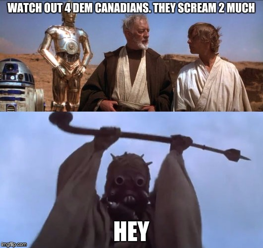 retarded star wars | WATCH OUT 4 DEM CANADIANS. THEY SCREAM 2 MUCH HEY | image tagged in star wars | made w/ Imgflip meme maker