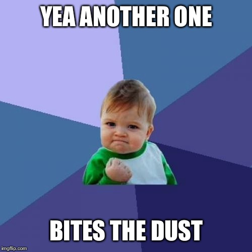 Success Kid Meme | YEA ANOTHER ONE BITES THE DUST | image tagged in memes,success kid | made w/ Imgflip meme maker