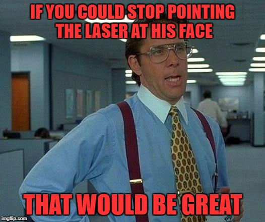 That Would Be Great Meme | IF YOU COULD STOP POINTING THE LASER AT HIS FACE THAT WOULD BE GREAT | image tagged in memes,that would be great | made w/ Imgflip meme maker