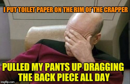 Captain Picard Facepalm Meme | I PUT TOILET PAPER ON THE RIM OF THE CRAPPER PULLED MY PANTS UP DRAGGING THE BACK PIECE ALL DAY | image tagged in memes,captain picard facepalm | made w/ Imgflip meme maker