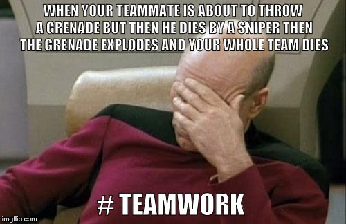 teamwork | WHEN YOUR TEAMMATE IS ABOUT TO THROW A GRENADE BUT THEN HE DIES BY A SNIPER THEN THE GRENADE EXPLODES AND YOUR WHOLE TEAM DIES # TEAMWORK | image tagged in memes,captain picard facepalm | made w/ Imgflip meme maker