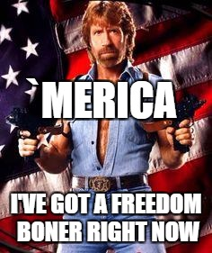 chuck norris | `MERICA I'VE GOT A FREEDOM BONER RIGHT NOW | image tagged in chuck norris | made w/ Imgflip meme maker