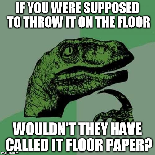 I'm so tired of sweeping up toilet paper at work. | IF YOU WERE SUPPOSED TO THROW IT ON THE FLOOR WOULDN'T THEY HAVE CALLED IT FLOOR PAPER? | image tagged in memes,philosoraptor,work,toilet paper | made w/ Imgflip meme maker