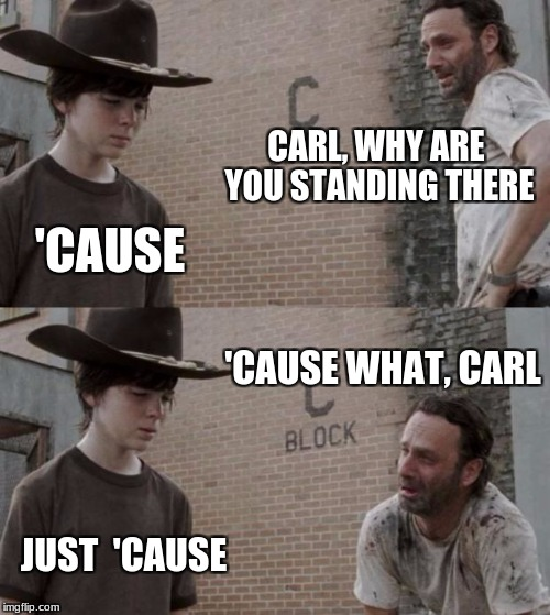 Rick and Carl Meme | CARL, WHY ARE YOU STANDING THERE 'CAUSE 'CAUSE WHAT, CARL JUST  'CAUSE | image tagged in memes,rick and carl | made w/ Imgflip meme maker
