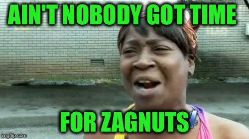 Aint Nobody Got Time For That Meme | AIN'T NOBODY GOT TIME FOR ZAGNUTS | image tagged in memes,aint nobody got time for that | made w/ Imgflip meme maker