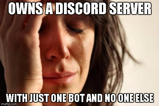 sad times over on Discord | OWNS A DISCORD SERVER WITH JUST ONE BOT AND NO ONE ELSE | image tagged in memes,first world problems | made w/ Imgflip meme maker