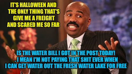 Is this a trick or treat?? I mean I don't know? | IT'S HALLOWEEN AND THE ONLY THING THAT'S GIVE ME A FREIGHT AND SCARED ME SO FAR IS THE WATER BILL I GOT IN THE POST TODAY! . I MEAN I'M NOT  | image tagged in memes,steve harvey,happy halloween | made w/ Imgflip meme maker