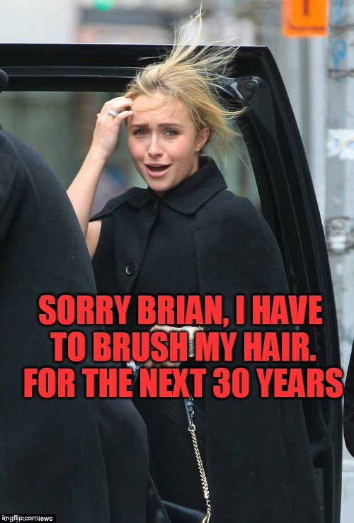 SORRY BRIAN, I HAVE TO BRUSH MY HAIR. FOR THE NEXT 30 YEARS | made w/ Imgflip meme maker