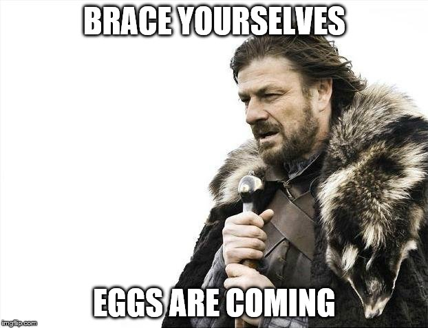 Brace Yourselves X is Coming Meme | BRACE YOURSELVES EGGS ARE COMING | image tagged in memes,brace yourselves x is coming | made w/ Imgflip meme maker
