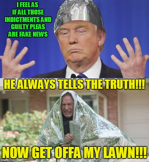 I FEEL AS IF ALL THOSE INDICTMENTS AND GUILTY PLEAS ARE FAKE NEWS NOW GET OFFA MY LAWN!!! HE ALWAYS TELLS THE TRUTH!!! | made w/ Imgflip meme maker