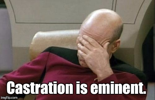 Captain Picard Facepalm Meme | Castration is eminent. | image tagged in memes,captain picard facepalm | made w/ Imgflip meme maker