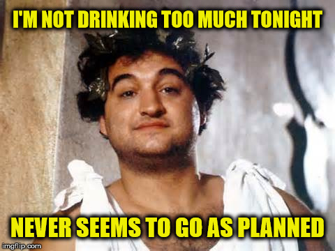 Drunk Philosopher | I'M NOT DRINKING TOO MUCH TONIGHT NEVER SEEMS TO GO AS PLANNED | image tagged in drunk philosopher,drinking,too much,memes,animal house | made w/ Imgflip meme maker