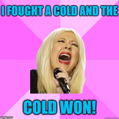 Everytime I thought I was winning,  the damm virus came back stronger! | I FOUGHT A COLD AND THE COLD WON! | image tagged in karaoke | made w/ Imgflip meme maker