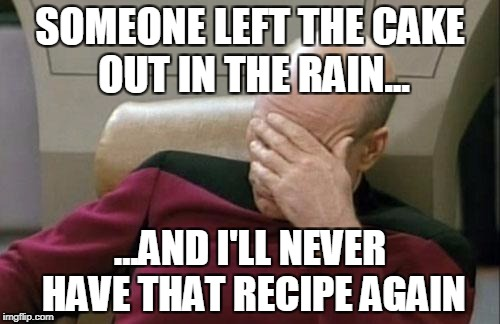 Captain Picard Facepalm Meme | SOMEONE LEFT THE CAKE OUT IN THE RAIN... ...AND I'LL NEVER HAVE THAT RECIPE AGAIN | image tagged in memes,captain picard facepalm | made w/ Imgflip meme maker