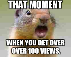 Help me get that moment! | THAT MOMENT WHEN YOU GET OVER OVER 100 VIEWS. | image tagged in gasp,that moment when,squirrel,views,upvotes,help me | made w/ Imgflip meme maker