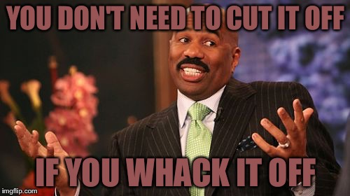 Steve Harvey Meme | YOU DON'T NEED TO CUT IT OFF IF YOU WHACK IT OFF | image tagged in memes,steve harvey | made w/ Imgflip meme maker