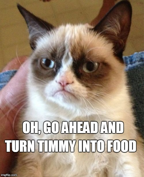 Grumpy Cat Meme | OH, GO AHEAD AND TURN TIMMY INTO FOOD | image tagged in memes,grumpy cat | made w/ Imgflip meme maker